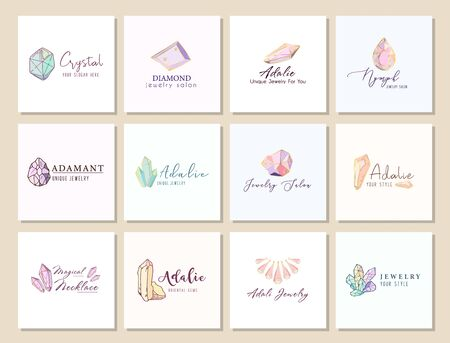 Big set of logo, business identity for jewelry salon, company or store with crystals or diamond on white, precious stone, gem and text - company name - vector illustration