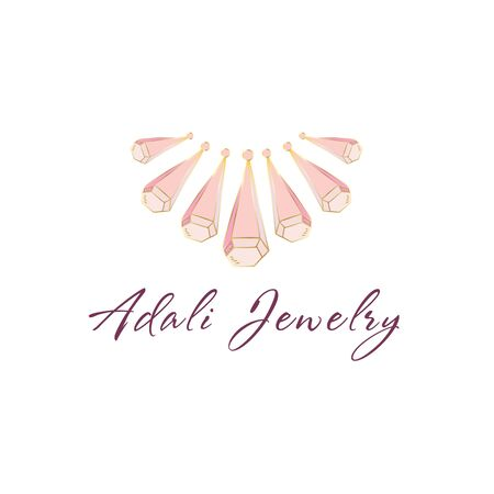 Logo, business identity for jewelry salon, company or store with pink crystals or diamonds on white, precious stone, gem and text - company name - vector illustration