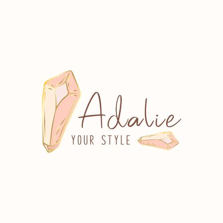 Logo,  business identity for jewelry salon, company or store with pink crystal or diamond on white, precious stone, gem and text - company name - vector illustration Illustration