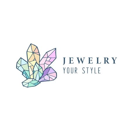 Logo,  business identity for jewelry salon, company or store with rainbow crystal or diamond on white, precious stone, gem and text - company name - vector illustration Illustration