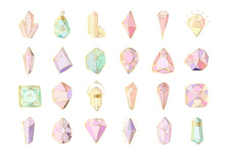 Icon vector set - colorful (blue, golden, pink, violet, rainbow) crystals or gems, on white background, symbols collection with gemstones, quartz, minerals, diamonds