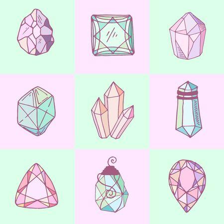 Icon-Vektor-Set - bunte (blau, golden, pink, violett, Regenbogen) isolierte Kristalle oder Edelsteine, Symbolsammlung mit Edelsteinen, Quarz, Mineralien, Diamanten