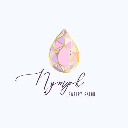 Logo, Geschäftsidentität für Schmucksalon, Unternehmen oder Geschäft mit rosa Kristall oder Diamant auf Weiß, Edelstein, Edelstein und Text - Firmenname - Vektorillustration