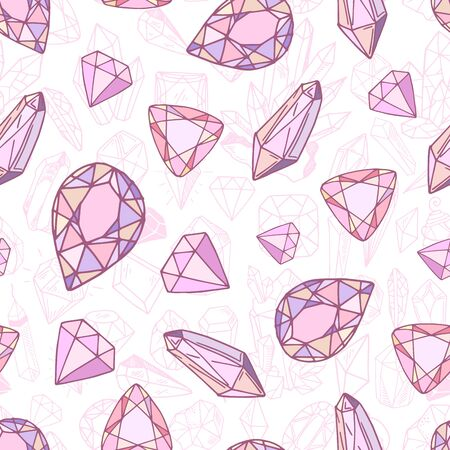 Seamless pattern with vector geometric pink and purple  crystals or gems, jewelry diamonds, quartz on white background 矢量图像