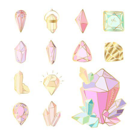Icon-Vektor-Set - bunte (blaue, goldene, rosa, violette, Regenbogen) Kristalle oder Edelsteine, auf weißem Hintergrund, Symbolsammlung mit Edelsteinen, Quarz, Mineralien, Diamanten Vektorgrafik
