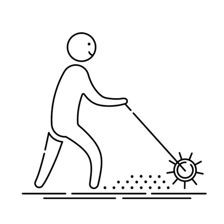Lawn aeration - outline icon with gardener man and aeration machine, lawn grass care service, gardening and landscape design, isolated sing with process on white background, vector for web, app