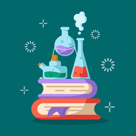 Chemical laboratory and equipment for the experiment. Science and  education concept. Glass flasks with liquids on books, reagents, solutions. Vector illustration on blue background. Çizim