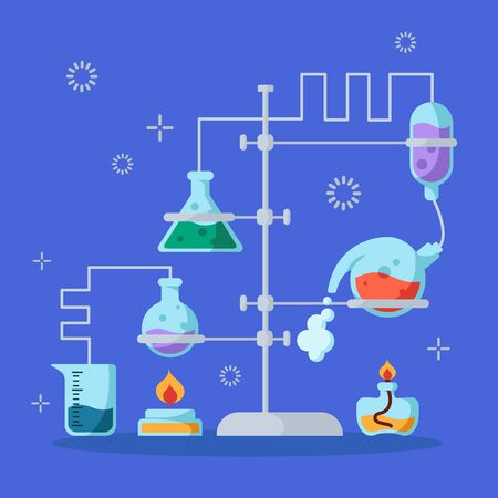 Chemical laboratory and equipment for the experiment. Science and  education concept. Glass flasks and test tubes with liquids, reagents, solutions. Vector illustration on purple background. Çizim