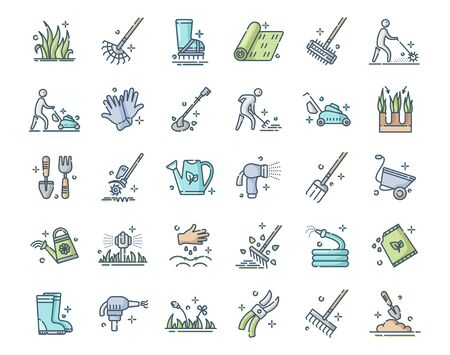 Lawn care and aeration - filled outline color icon set, lawn grass service, gardening and landscape equipment, isolated simple sings with tools and characters on white background, vector for web, app