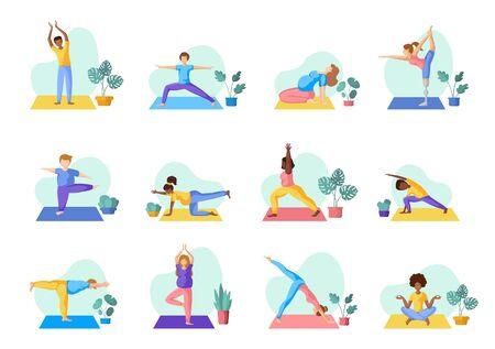 Diverse persone che fanno yoga: adulti, bambini, uomini e donne che fanno esercizi sportivi. Afroamericani ed europei - grande gruppo di persone. Elementi isolati su sfondo bianco, set vettoriale Vettoriali