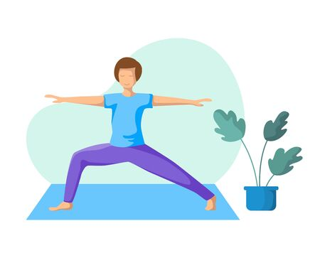 Young slim man doing yoga, guy doing sport exercise and meditation in room. Flat male character and potted flower on white background. Vector illustrstion  イラスト・ベクター素材