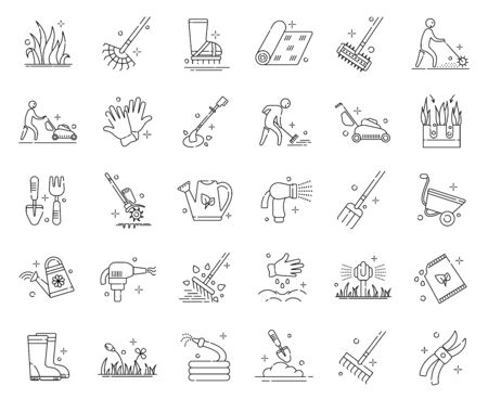 Lawn care and aeration - outline icon set, lawn grass service, gardening and landscape design, isolated simple sings with tools and characters on white background, vector for web, app