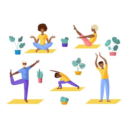 Big family yoga - different people doing yoga, African American adults, children, elderly men and women doing sport exercises and meditation. Group of persons, Isolated elements on white background, vector set