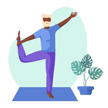 Elderly african american man doing yoga or stretching on mat, old person doing sport exercise and meditation. male flat character and potted flower on white background, vector illustration