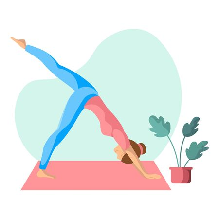 Young slim woman doing yoga on mat, girl is in yoga pose doing exercise and meditation. Female character in flat style. Isolated figure on white background, vector illustration