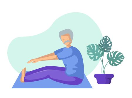 Elderly man doing yoga or stretching on mat, old person doing sport exercise and meditation. male flat character and potted flower on white background, vector illustration