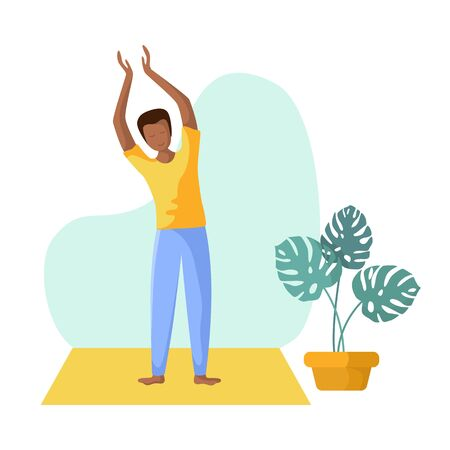 Young african american man doing yoga, slim guy doing sport exercise and meditation. Flat male character and potted flower. Vector illustrstion