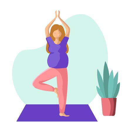 Young pregnant woman doing yoga on mat, pretty girl in yoga pose doing exercise and meditation. Female character in flat style. Isolated figure and potted flower, vector illustration