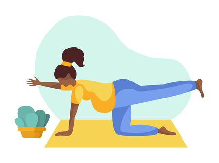Young african american pregnant woman doing yoga on mat, girl is in yoga pose doing exercise and meditation. Female character in flat style. Isolated figure and potted flower, vector illustration