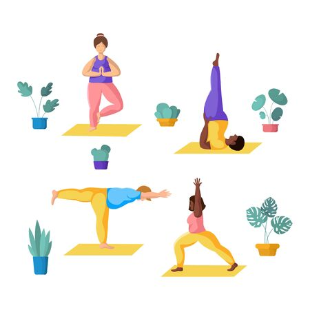 People doing yoga, young couples - plus size men and women doing sport exercises and meditation. African Americans and Europeans - group of persons, Isolated elements on white background, vector set  イラスト・ベクター素材