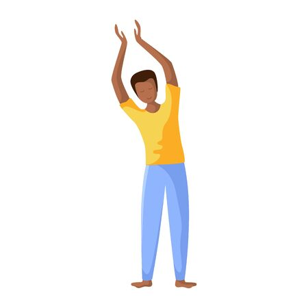 Young african american man doing yoga, slim guy doing sport exercise and meditation. Flat male character, isolated figure on white background. Vector illustrstion  イラスト・ベクター素材