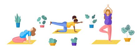 Young pregnant women doing yoga, African Americans and Europeans girls doing sport exercises and meditation. group of persons, Isolated elements on white background, vector set