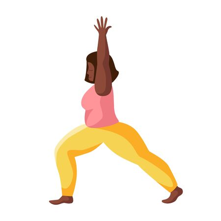 Young african american woman doing yoga on mat, girl doing sport exercise and meditation. Female character in flat style. Isolated figure on white background, vector illustration  イラスト・ベクター素材