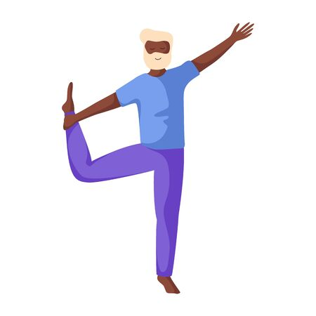 Elderly african american  man doing yoga or stretching, old person doing sport exercise and meditation. male flat character on white background, vector illustration