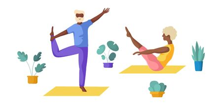 Elderly people - African Americans couple - doing yoga, old men and women doing sport exercises and meditation. Cute flat characters, isolated figures and potted flowers on white background, vector se