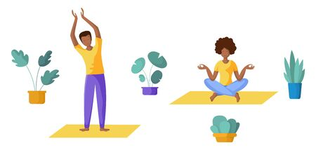 People doing yoga, young couple - men and women doing sport exercises and meditation. African American family in yoga class - group of persons, Isolated elements on white background, vector set