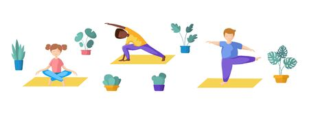 Kids or teenager girl and boy yoga pose doing yoga asana, sport exercises and meditation. Cute female and male character in flat style, vector illustration on white background.