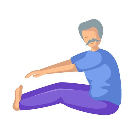 Elderly man doing yoga or stretching on mat, old person doing sport exercise and meditation. male flat character - isolated figure on white background. Vector illustrstion