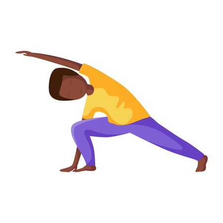Kid or african american teenager boy in yoga pose, doing yoga asana, sport exercises and meditation. Male character in flat style, vector illustration on white background.