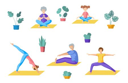 Big family yoga - different people doing yoga, adults, children, elderly men and women doing sport exercises and meditation. Group of persons, Isolated elements on white background, vector set