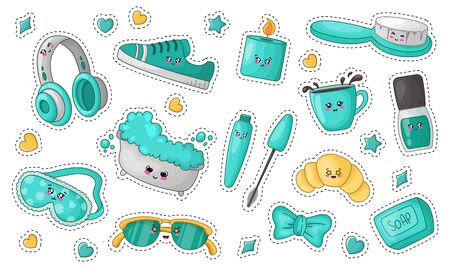 Cute cartoon sticker set with kawaii cosmetics, spa things - turquoise face sleeping mask, tea, nail file, bath, headphones, soap and body brush, woman stuff or girls accessory, vector flat clip art