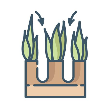 Lawn care and aeration - color filled outline icon, lawn grass service, gardening and landscaping, isolated simple sing with plants and aerating process on white background, vector for web, app