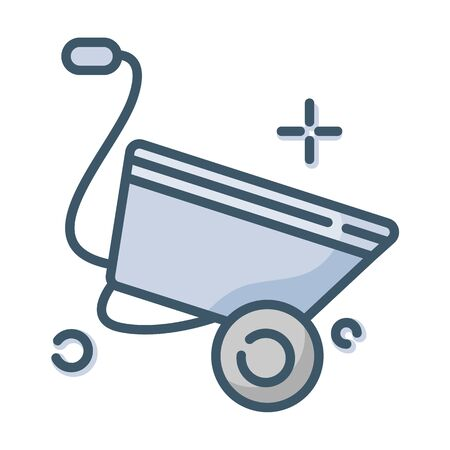 Lawn care and garden working - color filled outline icon, lawn grass service, gardening and landscaping, isolated simple sing with wheelbarrow on white background, vector for web, app Illusztráció