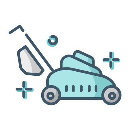 Lawn care and mowing - color filled outline icon, lawn grass service, gardening and landscaping, isolated simple sing with mower tool on white background, vector for web, app
