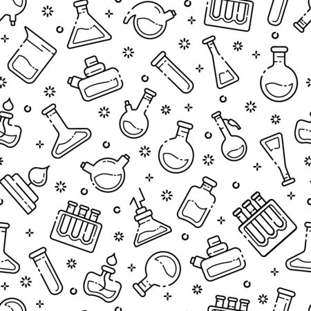 seamless pattern with outline icons - laboratory flasks, measuring cup and test tubes for diagnosis, analysis, scientific experiment. Chemical lab and equipment. Isolated vector texture on white background 向量圖像