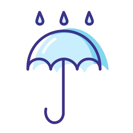 Simple weather icon - outline filled colorful - forecast sing with blue cloud and rain, umbrella, drops of water - vector isolated symbol on white background.