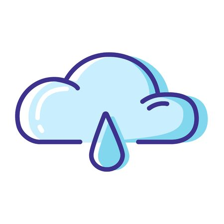 Simple weather icon - outline filled colorful - forecast sing with blue cloud and rain, drop of water - vector isolated symbol on white background.