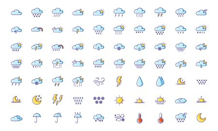 Set of simple outline filled colorful icons - weather or forecast sings with blue clouds, snow, rain, fog, wind, sun and moon - vector isolated symbols collection.