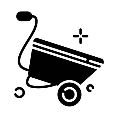 Lawn care and garden working - glyph icon, lawn grass service, gardening and landscaping, isolated simple sing with wheelbarrow on white background, vector for web, app