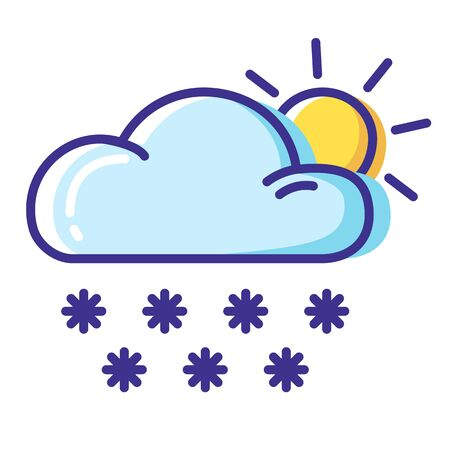 Simple weather icon - outline filled colorful - forecast sing with blue cloud and  snow, sun, cloudy and sunny winter morning or day - vector isolated symbol for web or forecast app, on white background 向量圖像
