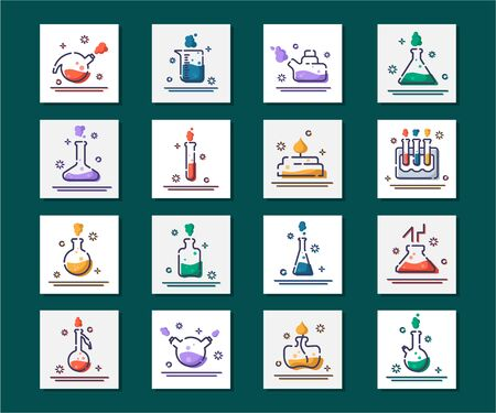 set of outline filled icons - laboratory flasks, measuring cup and test tubes for diagnosis, analysis, scientific experiment. Chemical lab and equipment. Isolated vector objects or signs in line style