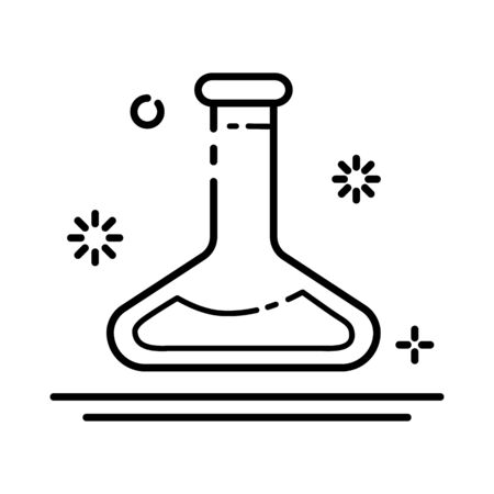 outline icon - laboratory flask or retort, lab glass for diagnosis, analysis, scientific experiment. Chemical laboratory equipment. Isolated vector object or sign in line style on white background