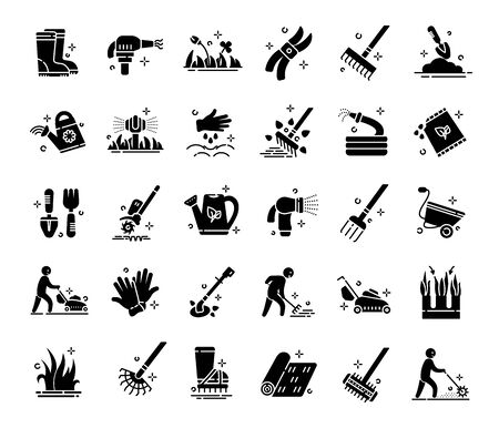 Lawn care and aeration - glyph icon set, lawn grass service, gardening and landscape equipment, isolated black silhouette sings with tools and characters on white, vector for web, app Ilustrace
