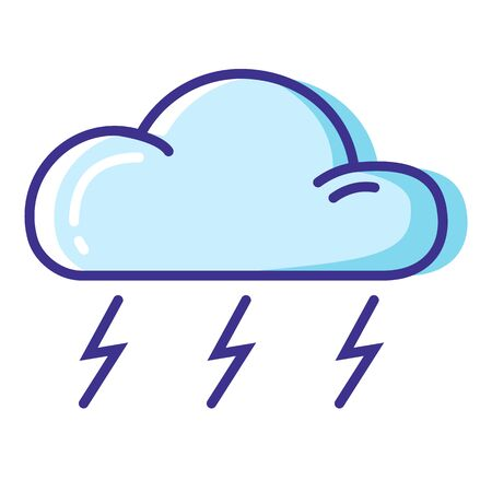 Simple weather icon - outline filled colorful - forecast sing with blue cloud and lightning or thunderstorm - vector isolated symbol on white background.