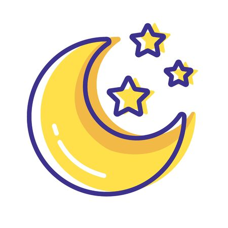 Simple weather icon - outline filled colorful - forecast sing with yellow moon and stars - vector isolated symbol on white background. 向量圖像