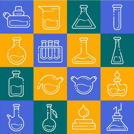 set of outline icons - laboratory flasks, measuring cup and test tubes for diagnosis, analysis, scientific experiment. Chemical lab and equipment. Isolated vector objects or signs in line style on colored background